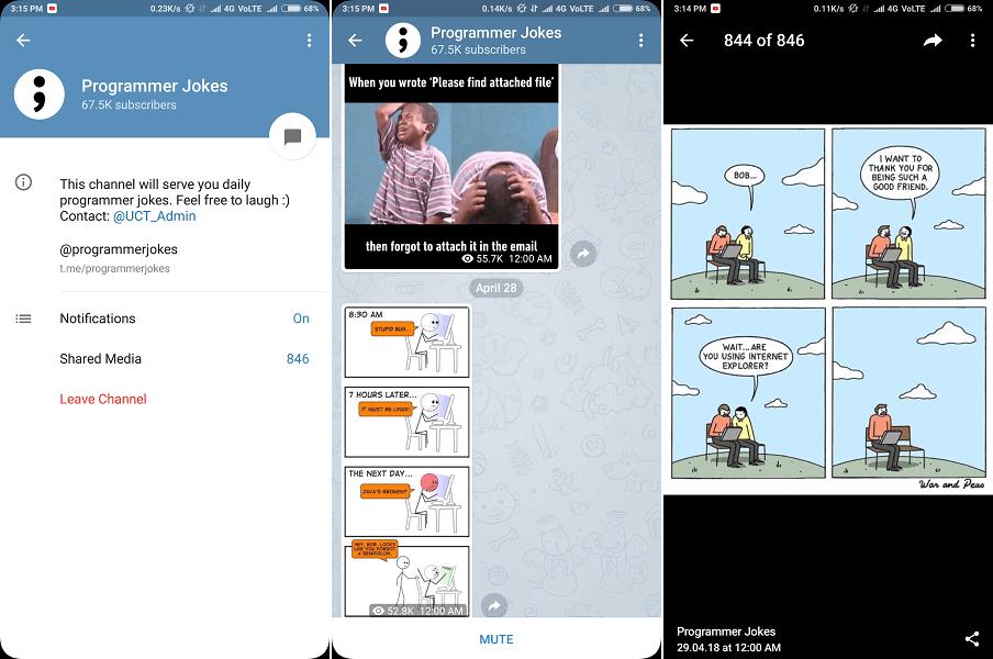 telegram channel for daily memes - Programmer Jokes
