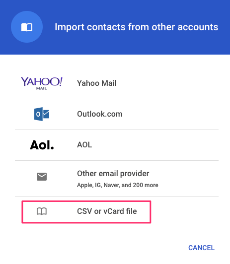 Import vCard file Google account