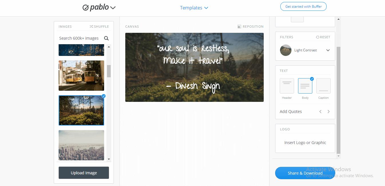 Pablo - free graphic designing tool