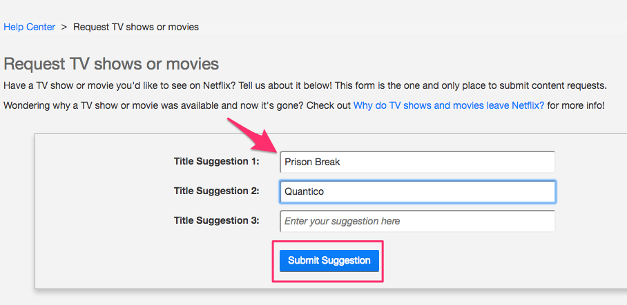 Request new Titles from Netflix
