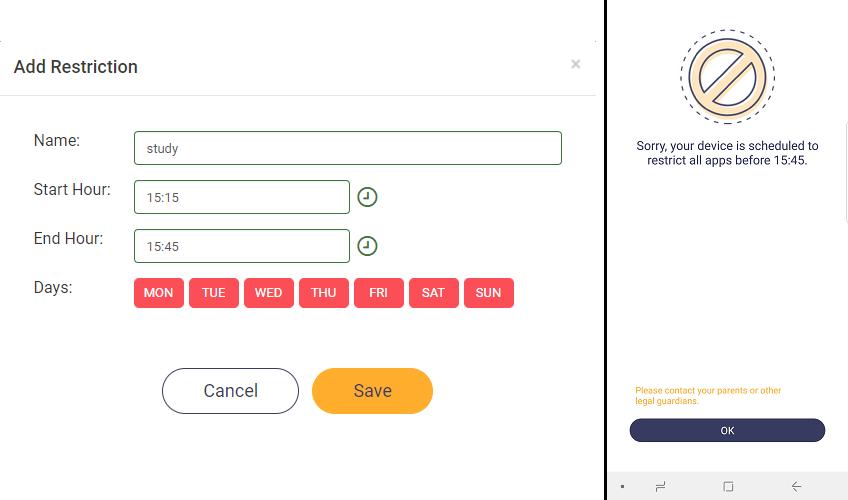 Schedule Restrictions - FoneMonitor