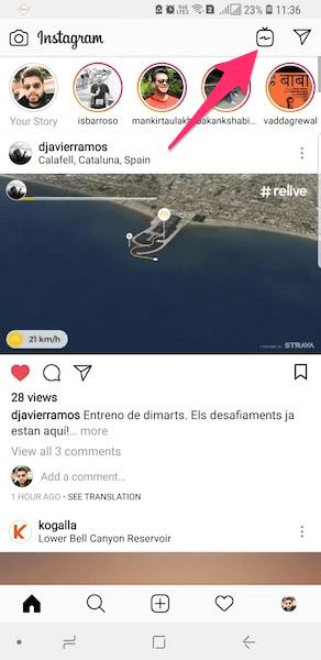 Access GTV from Instagram app