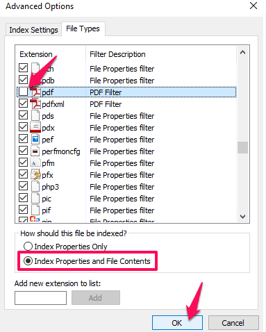 windows search file contents not working