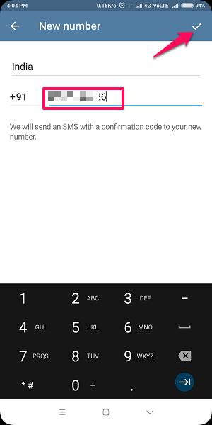 Change phone number on Telegram without uninstalling app