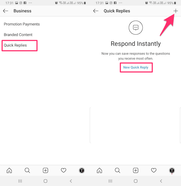 Create Quick Reply Instagram direct