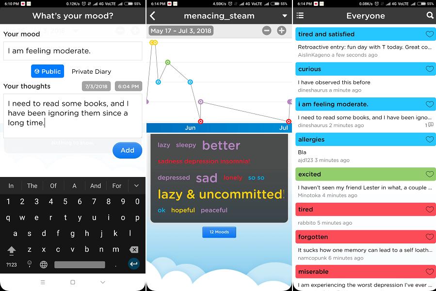 Moodtrack app Social Diary
