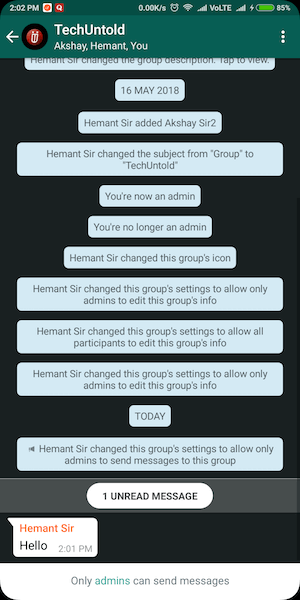 Only group admins can send messages WhatsApp