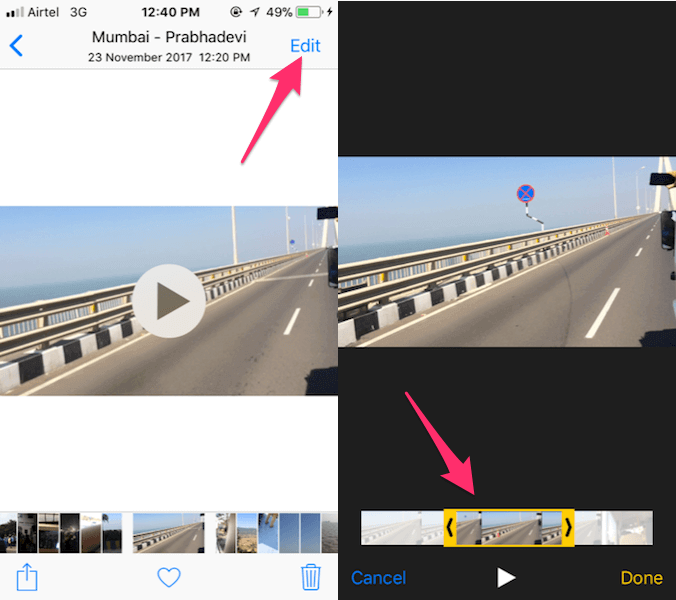 Trim and remove unwanted part of videos on iPhone