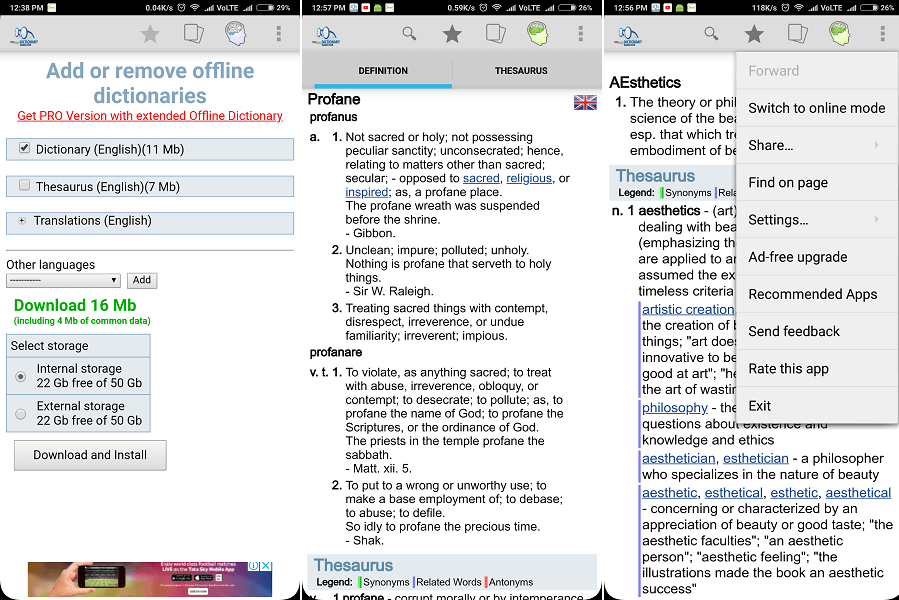 best dictionary for android without internet By TheFreeDictionary.com