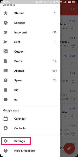 enable Swipe to delete on Gmail app