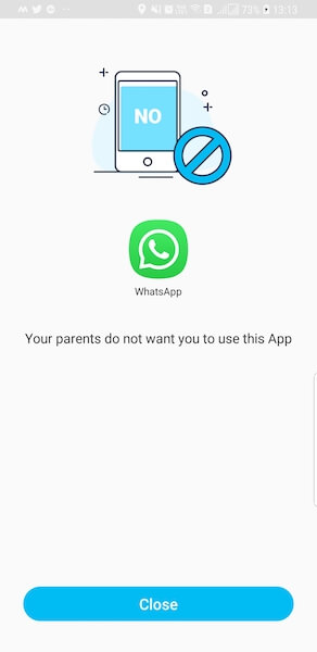 App Blocked on Child Smartphone