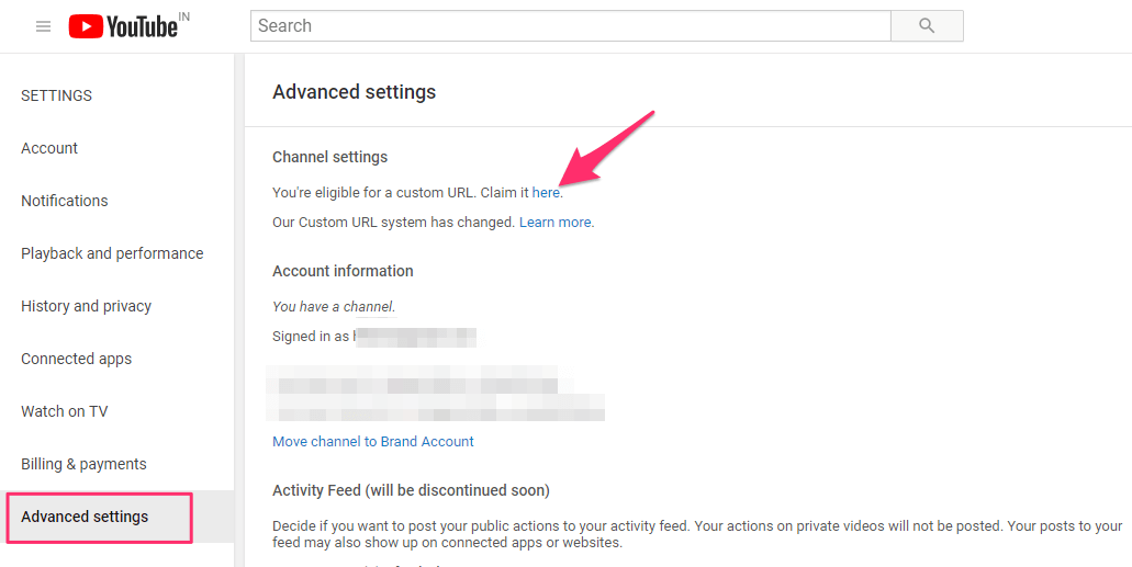 Claim Custom url for YouTube Channel