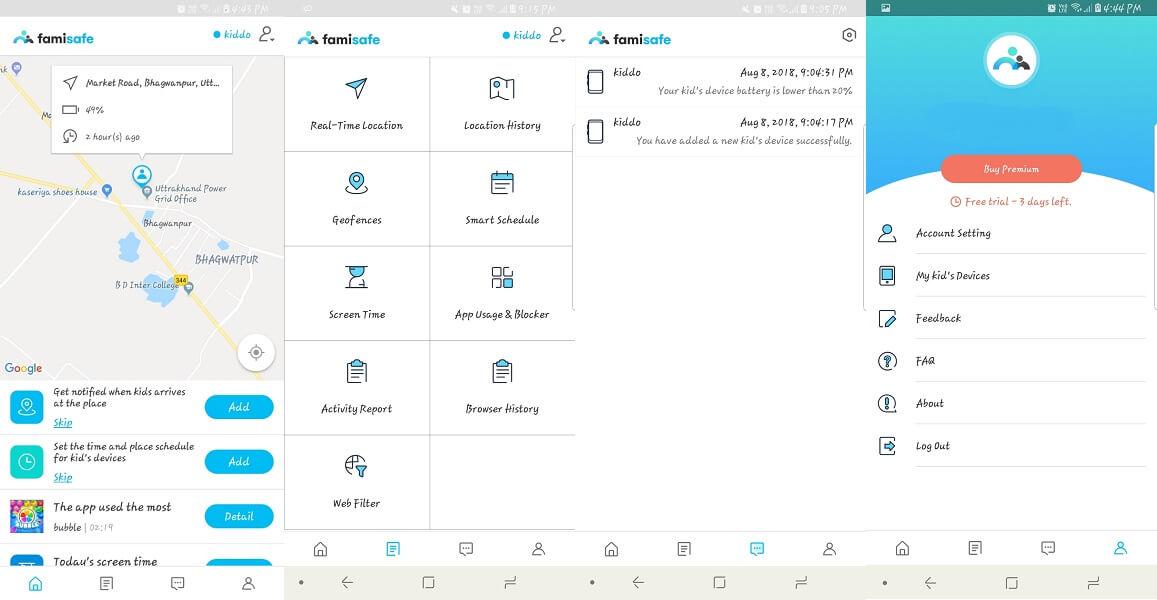 FamiSafe User Interface