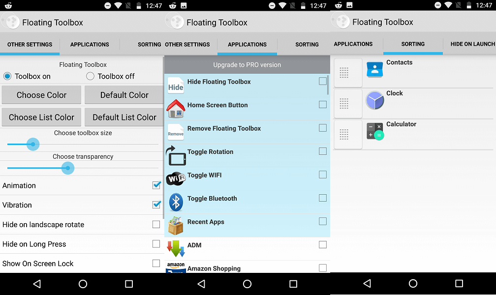Floating toolbox Android