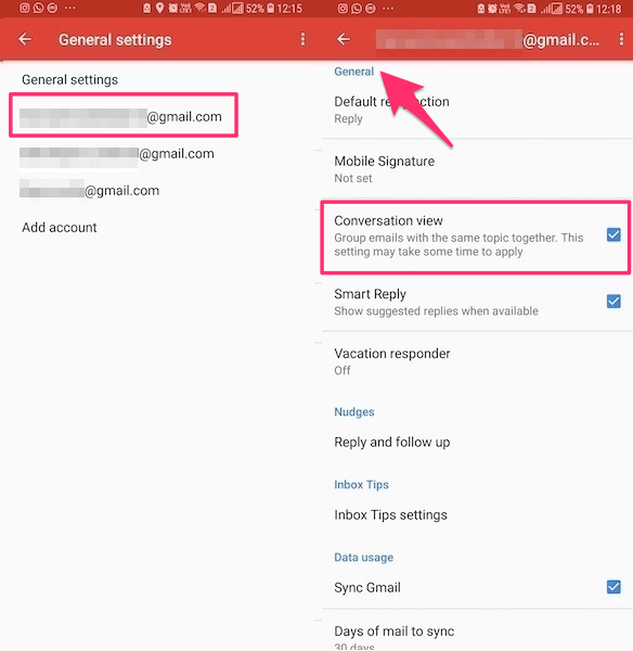 Gmail Threaded Email View setting