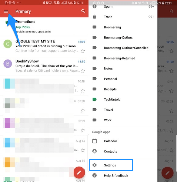 Gmail settings iOS Android