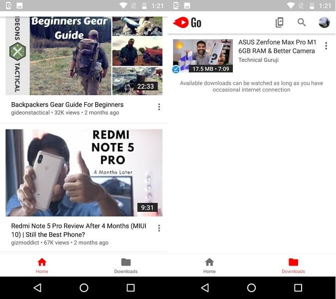 YouTube Go vs YouTube - features