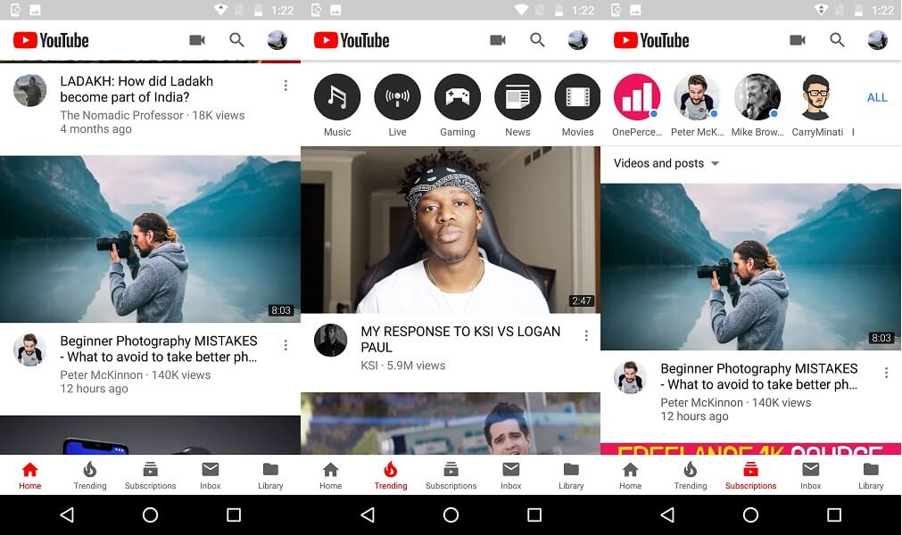 YouTube features
