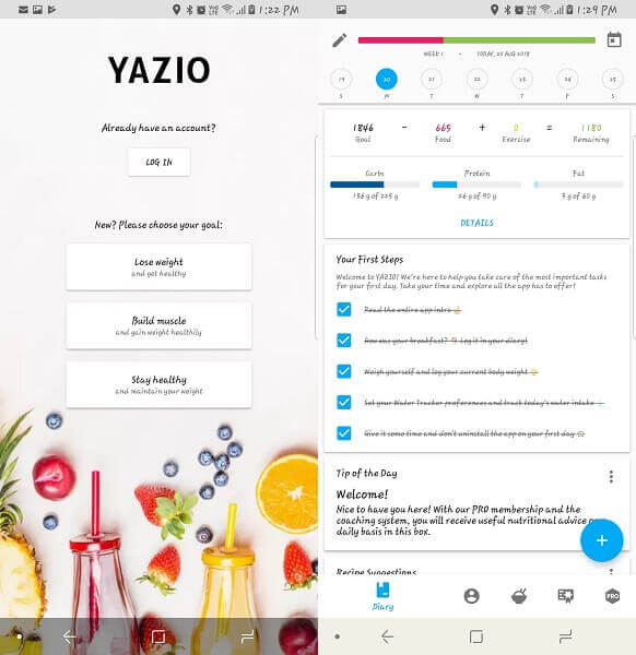 yazzio - food tracker app for Android and iOS