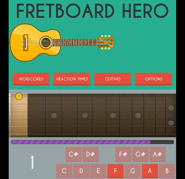 Fretboard Hero - learn guitar while playing game