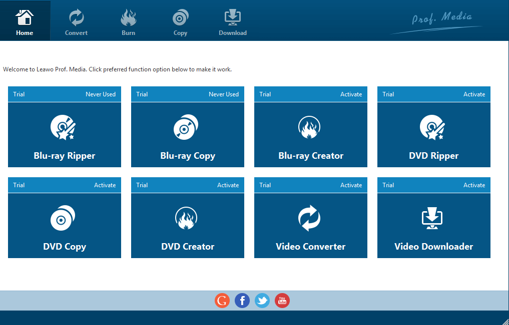 Leawo Video converter- Main dashboard