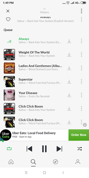 Saavn Interface