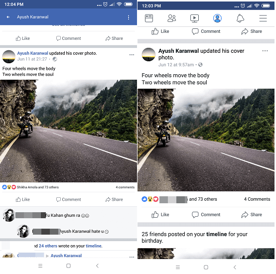 Quality - Facebook vs Facebook Lite