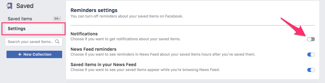Disable Facebook saved items notifications