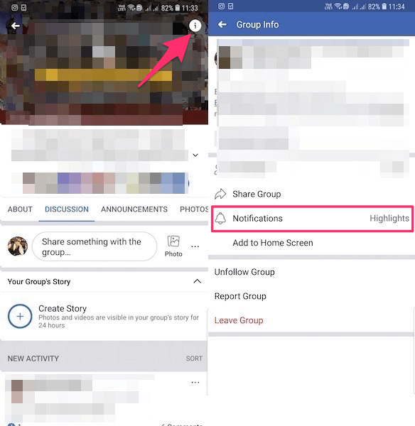 Facebook Group Info Screen