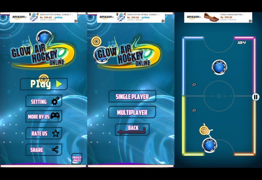 Glow Air Hockey 2 Players Online -Air Glow Hockey Game