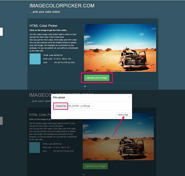 how to get color code from image - Image color picker
