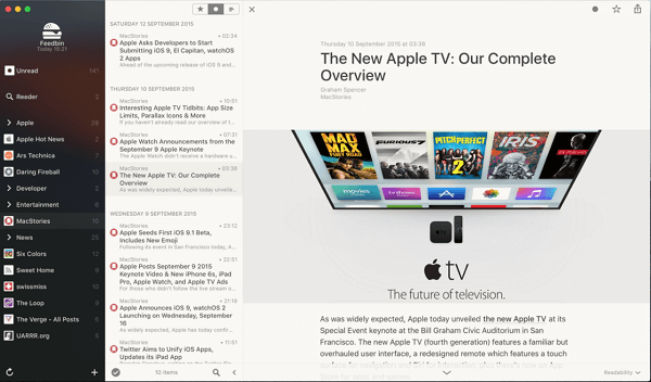 Reeder - Best RSS reader Mac