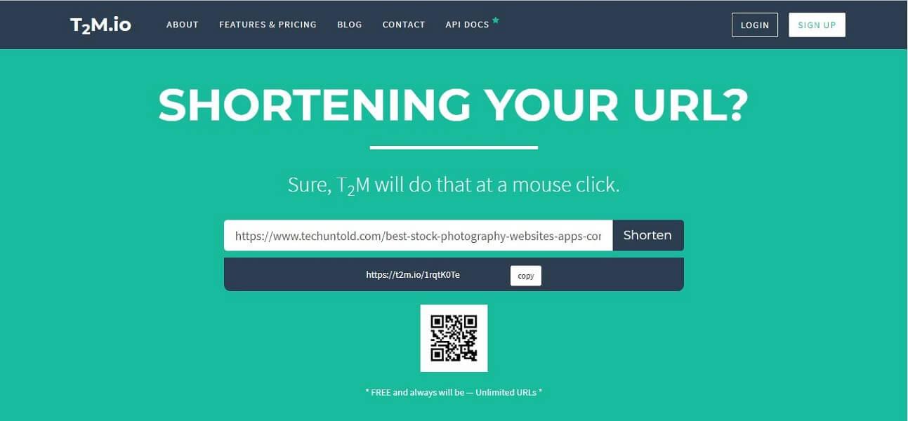 T2M.io - free URL shortener