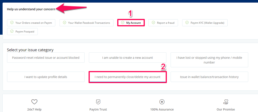 delete Paytm account from web