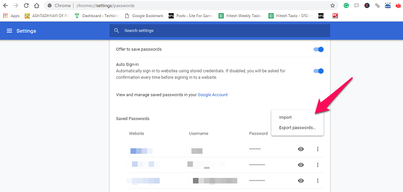 import passwords Chrome