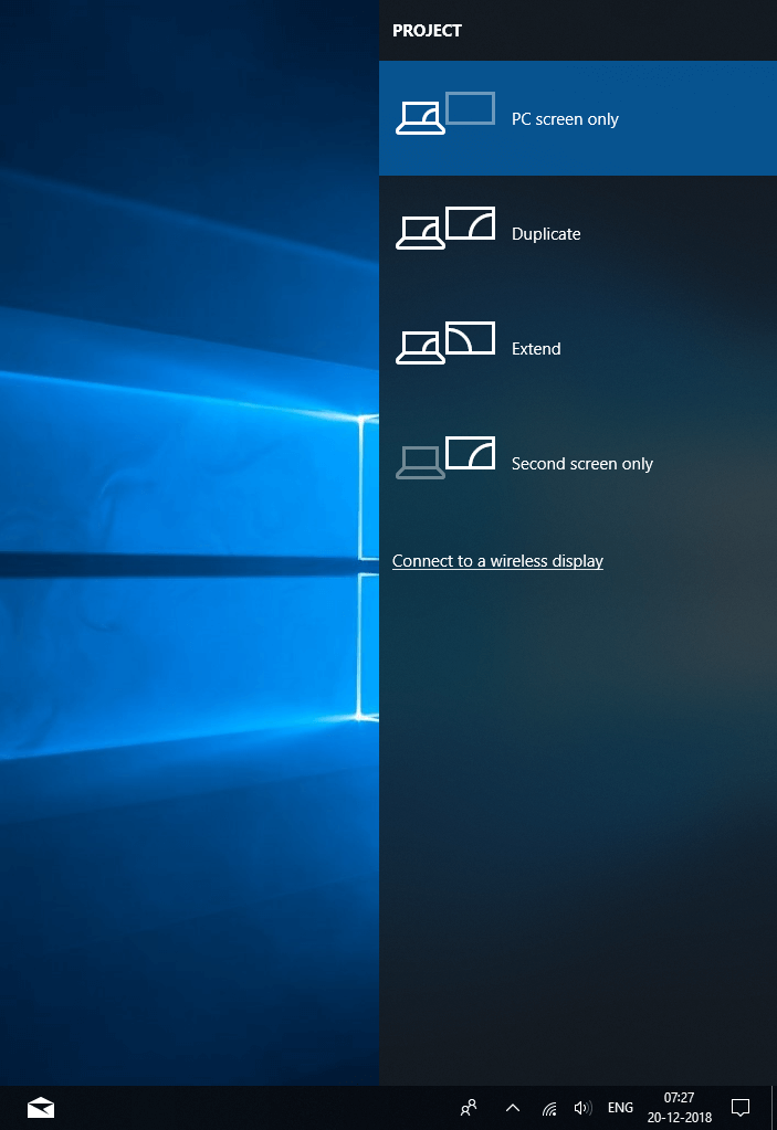 project screen panel windows 10