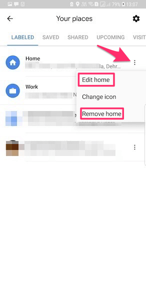 Change Home or Work Address Google Maps