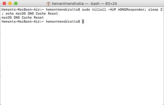 Clear DNS Cache Mac