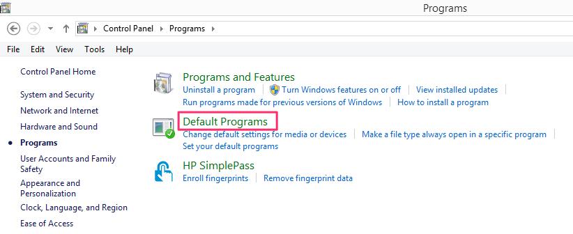Default Programs Windows
