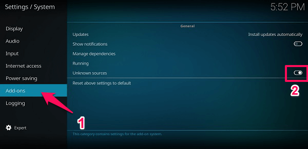 allow installation from unknown sources Kodi