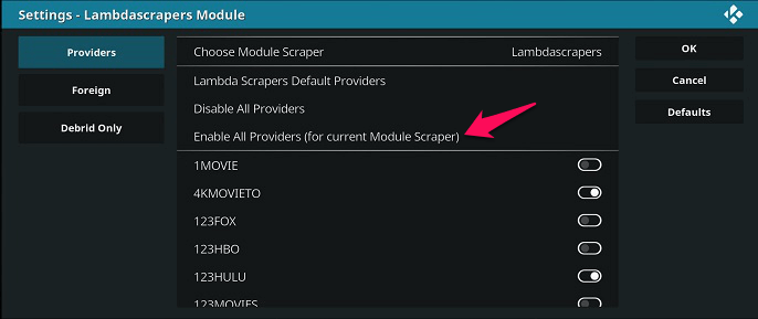 Kodi - enable all provider for Exodus redux
