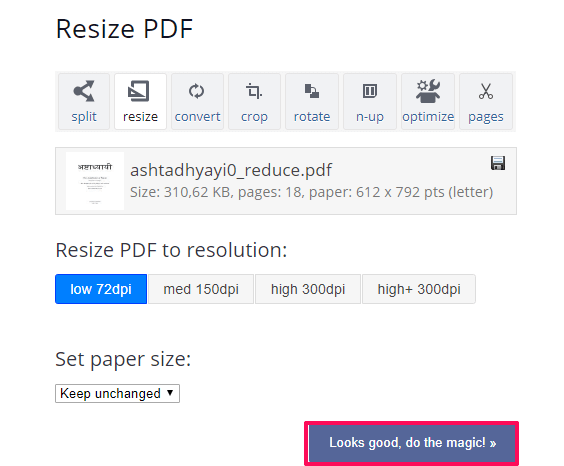 Rezide PDF files - compress PDF