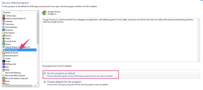 Set Chrome As Default Browser On Windows 7 8 10