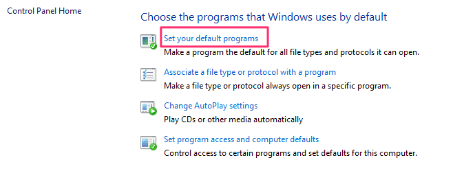 Set Default Programs Windows