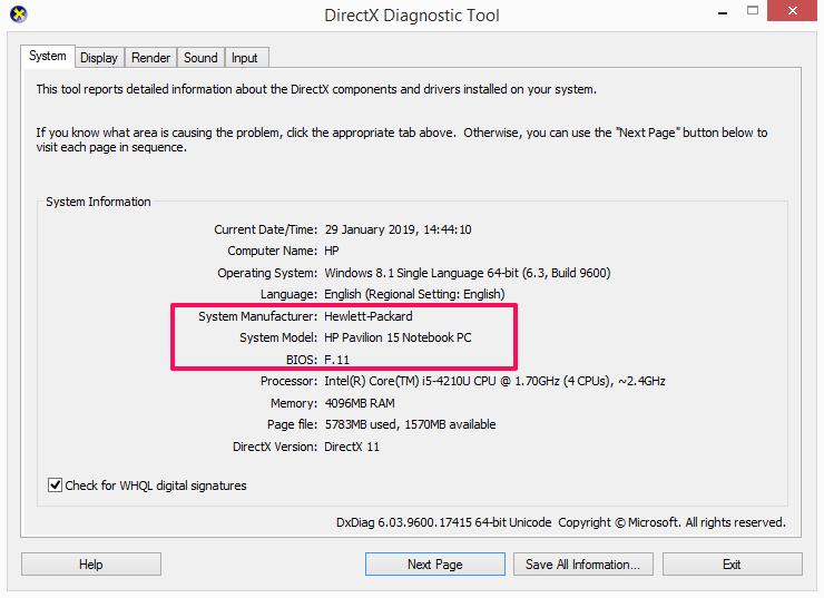 using DirectX diagnostic tool