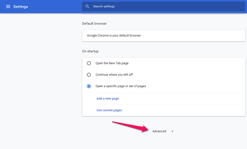 chrome advanced setting