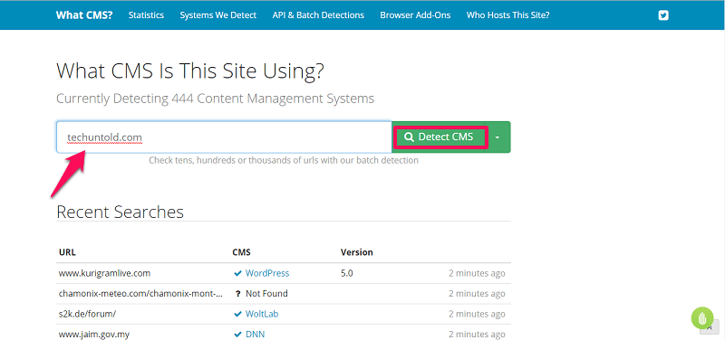 how to check cms of website