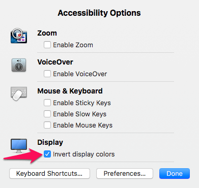 invert the color using the keyboard shortcut on macOS