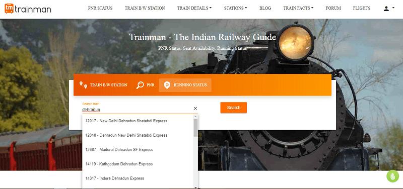 live running status of train - trainman website