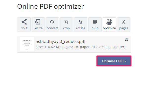 optimize PDF files - how to comress pdf files